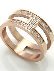 Double Layer Hollowed Rhinestone Inlay 316L Stainless Steel Gold Plated Band Rings 1pc