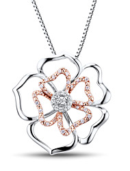 Women's Fashion Sterling Silver set with Cubic Zirconia Flower Pendant with Silver Box Chain