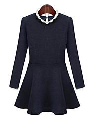 Winter Women's Splice Laces Round Neck Long Sleeve Plus Sizes Navy Blue Slim Was Thin OL Dress
