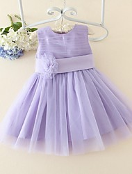 ELLIE'S BRIDAL A-line Knee-length Flower Girl Dress - Satin Tulle Jewel with Bow(s) Flower(s) Sash / Ribbon