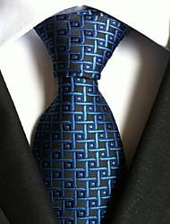 Men Wedding Cocktail Necktie At Work Black Blue Square