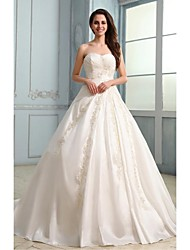 A-line Wedding Dress Court Train Strapless Taffeta with Appliques