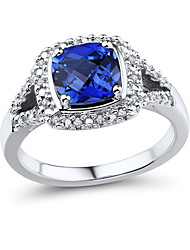 Women's Classic Sterling Silver set with Created Sapphire and Natural Diamond Ring