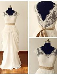 A-line Wedding Dress Lacy Looks Floor-length V-neck Chiffon / Lace with Ruffle / Sash / Ribbon