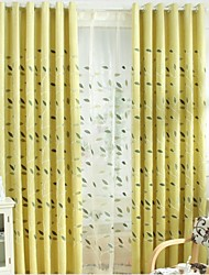 Two Panels Europe Contracted Style Of High-Grade Chenille Fabric Embroidered Curtains Drape