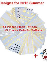 - Tattoo Aufkleber - Muster/Hawaiian/Waterproof - Schmuck Serie - für Damen/Herren/Erwachsener/Teen - Gold/Schwarz/Silber - Papier - 17