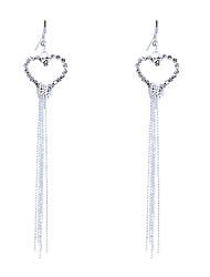 Boucles d'oreille goutte Cristal Strass Plaqué argent Cœur Mode Forme de Coeur Argent Bijoux Soirée Quotidien Décontracté 2pcs