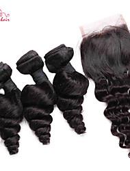 brésilienne vierge de cheveux desserrent la vague de smilco avec fermeture 3 faisceaux avec partie libre de fermeture 4 * 4 de dentelle