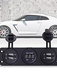 Car Auto 12V 4 USB Cigarette Lighter Sockets Adapter Charger with Voltmeter