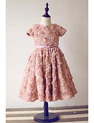 A-line Tea-length Flower Girl Dress - Chiffon Short Sleeve