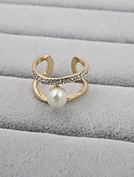 Feminino Anéis Grossos Ajustável Aberto Jóias de Luxo bijuterias Pérola Strass Imitações de Diamante Liga Jóias Para Casamento Festa
