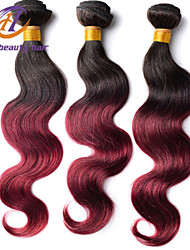 3pcs / lot 12-26inch cuerpo del pelo del color de la onda ombre virginal brasileño 1b / 99j del pelo humano sin procesar teje venta