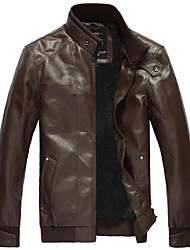 Men's Long Sleeve Jacket , PU Casual / Work / Formal / Sport Pure,Men's leather collar plus thick warm velvet jacket