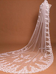 Wedding Veil One-tier Chapel Veils / Cathedral Veils Lace Applique Edge Tulle Ivory White / Ivory