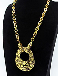 Double Circle Pendant Golden Chain Necklace