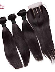 smilco cheveux vierges 6abrazilian droite avec fermeture 3 faisceaux avec 4 * 4 fermeture à lacets troisième partie armure de cheveux avec