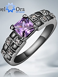 Ring Fashion Party Jewelry Cubic Zirconia / Gold Plated Women Band Rings 1pc,One Size Black / Purple