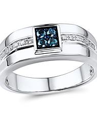 La mode sterling l'argent de 0,23 carat des hommes sertie de diamant bleu traité et la bague de diamant naturel