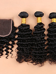 7A Grade Unpressed Brazilian Deep Curly With Closure Brazilian Curly Virgin Hair Bundles With Lace Closures