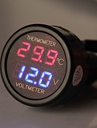 carchet auto encendedor del coche con el panel llevado voltímetro digital termómetro