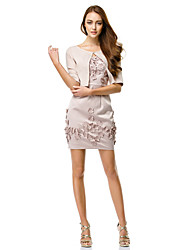 TS Couture® Cocktail Party Dress - Pearl Pink Sheath/Column Straps Short/Mini Charmeuse