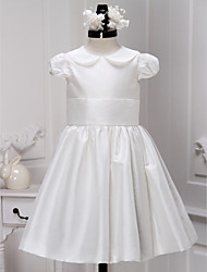 Lanting Bride A-line Knee-length Flower Girl Dress - Satin Short Sleeve Jewel with