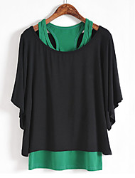 Women's Casual/Daily Plus Size / Simple Spring Blouse,Color Block Round Neck ½ Length Sleeve Pink / Green Cotton Medium