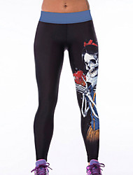 Women's Evil Skull Queen and Bad Apple Printed Bodycon Yoga Pants