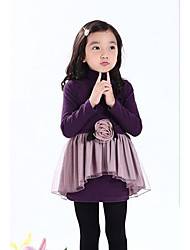 Girl's Dresses Long Sleeve Stand Collar Flower Lace Fleece Lining One Piece Dresses (Cotton)