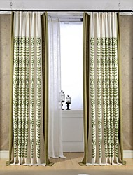 (Two Panels)Modern Branch Embroidered Linen/Cotton Blend Energy Saving Curtain(Sheer Not Included)