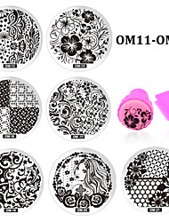10pcs Nail Art Plate and Stamper Scraper Set, Nail Stamp Stamping Stencil Nail Template Tools (OM11-OM20)
