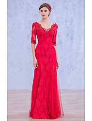 Formal Evening Dress Ball Gown V-neck Floor-length Lace / Sequined with Lace / Sequins
