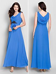 Vestido de Madrinha - Azul Real Linha-A Retrato Longuete Chiffon