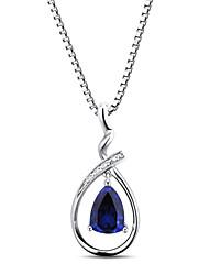 женская мода стерлингового серебра набор с сапфиром и созданного природного алмаза кулон с серебряной коробке цепи