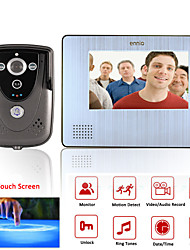 "ennio 7""  Color Touch Screen Video Door Phone with PIR Record intercom System with IR camera max to support 32G SD card"