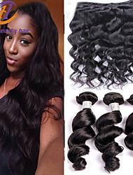 misturar 3pcs tamanho / lot 8-26inch cabelo virgem brasileira onda solta cor preta cabelo humano cru tece atacado.
