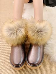 Zapatos de mujer - Tacón Plano - Botas de Nieve - Botas - Exterior / Casual - Semicuero - Negro / Marrón / Oro