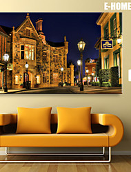 E-HOME® Stretched LED Canvas Print Art City Street Corner LED Flashing Optical Fiber Print One Pcs