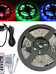 Z®zdm imperméable à l'eau 5m 150x5050 smd rgb led strip light et 24key remote control et 3a us eu u uk alimentation (ac110-240v)