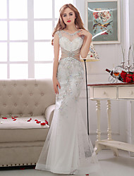 Trumpet / Mermaid Wedding Dress See-Through Floor-length V-neck Satin Tulle with Beading