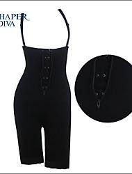 Shaperdiva Women's Black Slim Sexy Front Zip Tummy Control Butt Lift Full Body Shaper Corset with Hook&Eye
