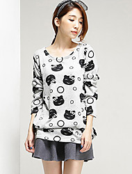 Women's Casual/Daily Simple All Seasons Blouse,Print Round Neck Long Sleeve Gray Cotton Medium