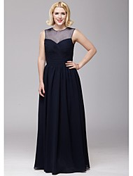 Floor-length Chiffon Bridesmaid Dress - Dark Navy A-line Jewel