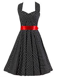 De las mujeres Línea A Vestido Vintage A Lunares Hasta la Rodilla Halter Algodón