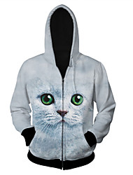 Women's High Quality Creative Fashion Personality Unique Lovely Animals Space Cotton 3D Hooded Jackets —— Green Eyes Cat