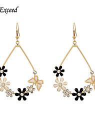 D Exceed New Fashion Trend Women Jewelry Gold Filled Enamel Flower Chandelier Earrings Long Hook Bohemian Earrings