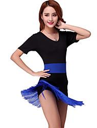 Danse latine Robes Femme Spectacle Fibre de Lait 1 Pièce Robe