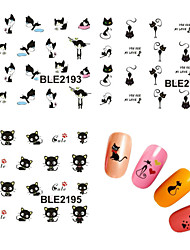 11pcs 3D Cute Cat Nail Water Transfer Stickers