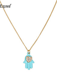D exceed Lady Boho Christmas Gift 18K Gold Filled Blue Fatima Hand Pendant Necklace  Rhinestone Heart Long Sweater Chain