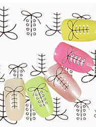 1 PCS 3D Shoelace Pattern Water Transfer Printing Nail Stickers
